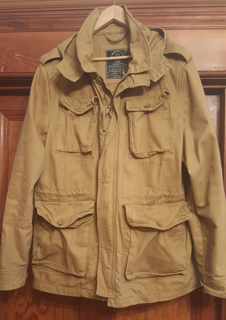 Mens Xl Brown Khaki Surplus Outdoor Casual Rugged Winter Jacket With Hood