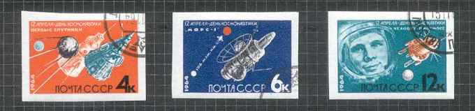 1964-RUSSIA-TWO-COSMOS-SPACE-SETS-PERF-IMPERF-VFU