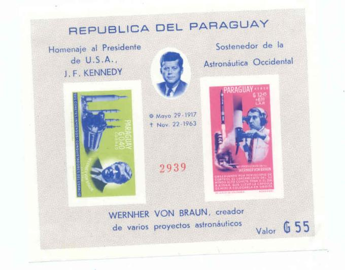 1964-PARAGUAY-KENNEDY-COSMOS-IMPERF-SPACE-SET-MS