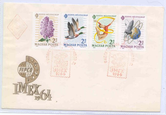 1964-HUNGARY-COSMOS-III-SPACE-SET-ON-FIRST-DAY-COVER