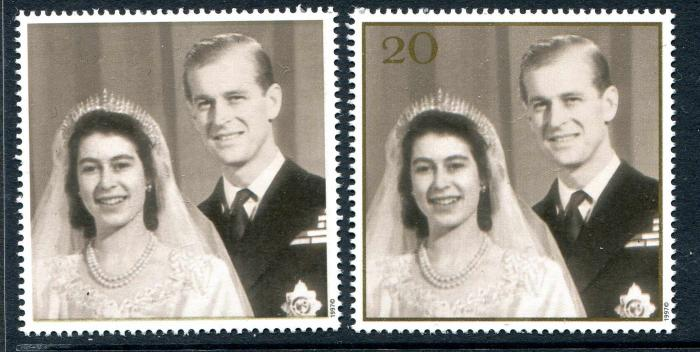 GB-1997-ROYAL-GOLDEN-WEDDING-20p-MISSING-GOLD-PRINTING-VALUE-FRAME-RARE